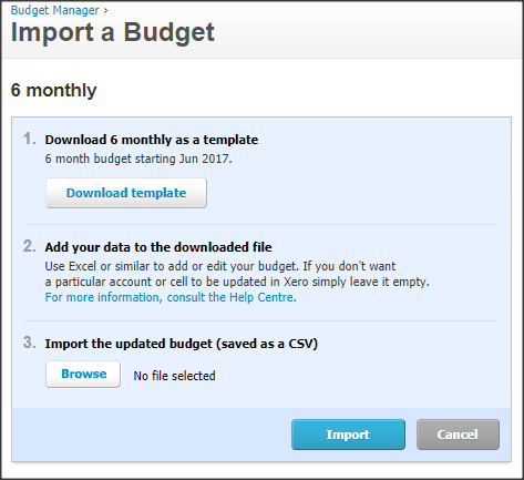 How to import budget in xero