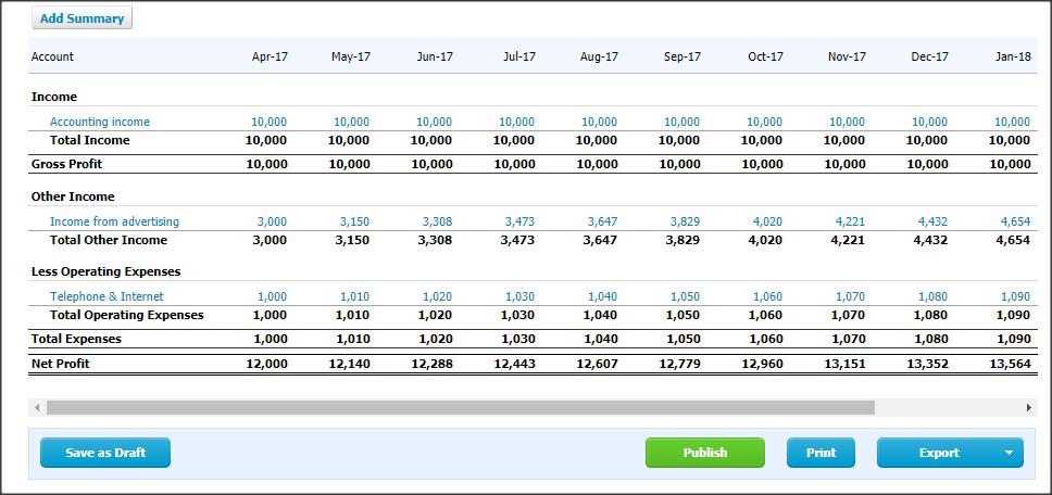 budget summary report in xero