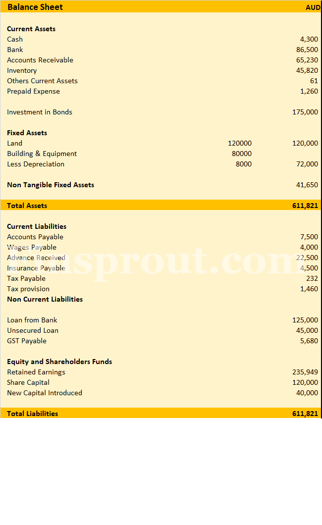 balance sheet sample format example