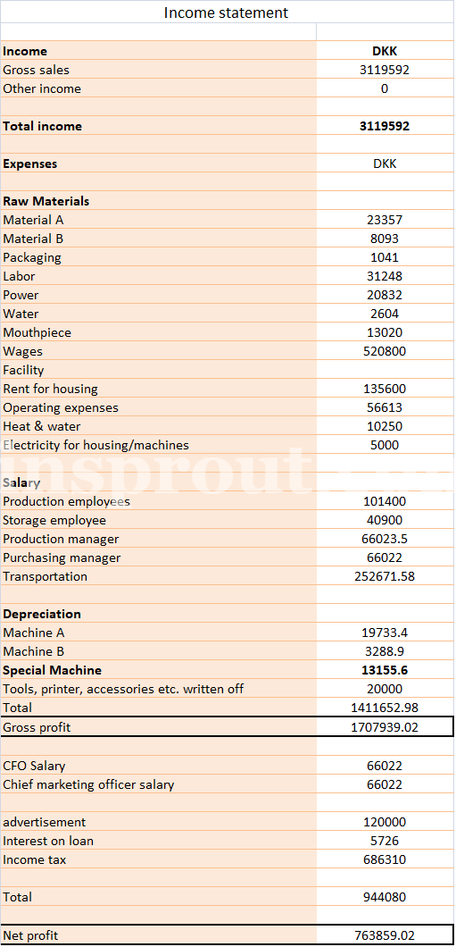 Income statement sample format example